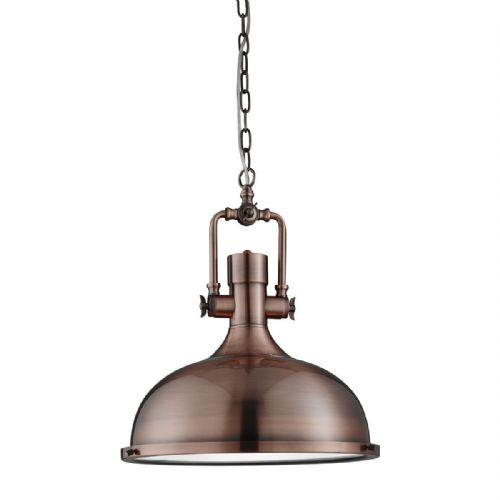 Industrial Pendant - 1 Light Antique Copper, Frosted Glass Diffuser 1322Cu